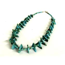 Navajo Graduated Turquoise Nugget  Heishi Necklace