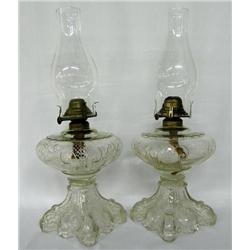 2 Antique Victorian Glass Kerosene Lamps