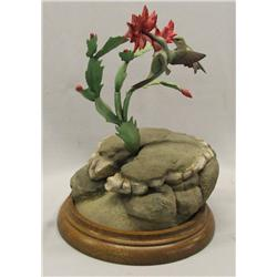 1989 Carved Hummingbird & Cactus Statue by Briddel
