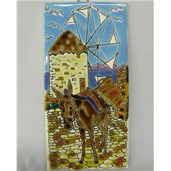 Hand Painted Greek Tile Wall Decoration