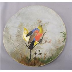 1932 Antique Hand Painted Wood Plate By W Schute