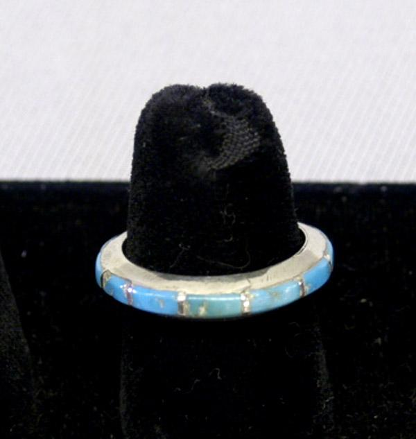 Image 2 Navajo Silver Channel Inlay Turquoise Wedding Band