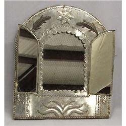 Mexican Tin Hanging Mirror With Hinged Doors