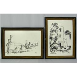 2 Pen & Ink Prints By Dolona Roberts