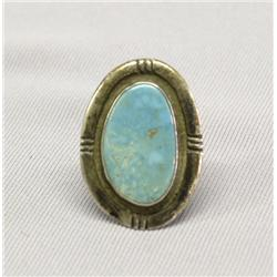 Vintage Navajo Green Turquoise Silver Ring