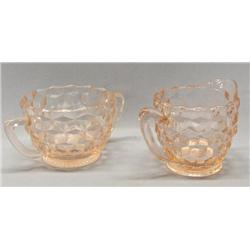 2 Pink Depression Glass Creamer And Sugar