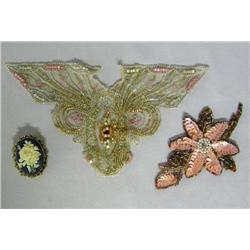 3 Vintage Applique And Pin/Pendant