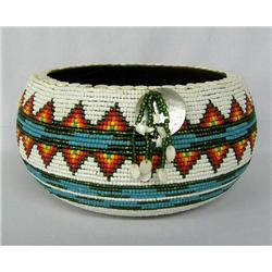 Hand Beaded Wood Bowl By Kills Thunder