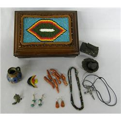 Beaded Wood Box With Stuff By Kills Thunder