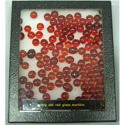 Vintage Miniature Red Glass Marbles 100 Plus