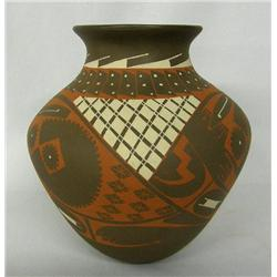 Mata Ortiz Red on Brown Pottery Jar by R Madrigal