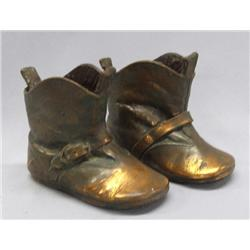 Pair Copper Baby Cowboy Boots