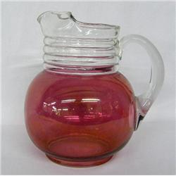 Vintage Cranberry Glass Ball Pitcher