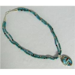Navajo Turquoise Pendant Necklace By Francisco