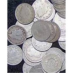 Lot of 40 V Nickels, well circulated coins