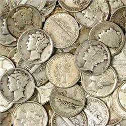 Lot of 60 Mercury Dimes