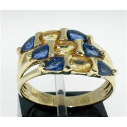 14K Yellow Gold Multi-color Stone Ring