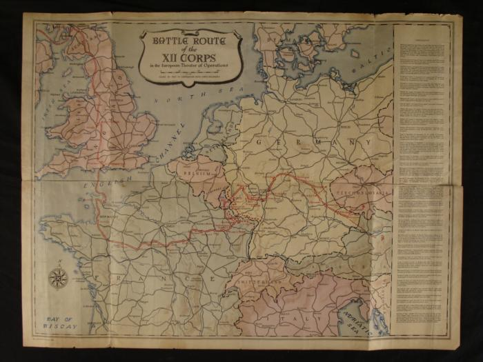 WWII ERA MAP EUROPE 1945 12TH US CORPS BATTLE ROUTE. Loading Zoom