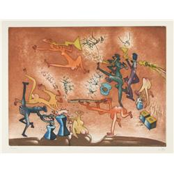 Roberto Matta, Jazz Bande, Aquatint Etching