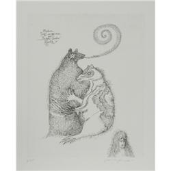 Leonora Carrington, Badger's Shadow Appears, Etching