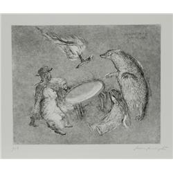 Leonora Carrington, Badger causes Table to Fly, Etching