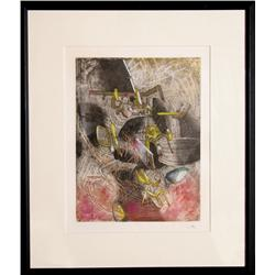 Roberto Matta, Hom'mere IV - (Point D'Appui), Hand-Colored Etching