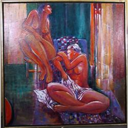 Benjamin Silva, Two Nudes in the Studio, Acrylic Painting