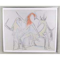 Wifredo Lam, Crayon and Pastel Drawing