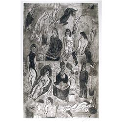Jose Luis Cuevas, Las Victimas, Aquatint Etching