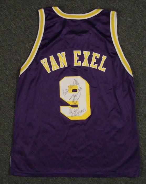 7bb866573 ... Image 1 Nick Van Exel, Shaq Signed LA Lakers Jersey NBA 3 Sigs .
