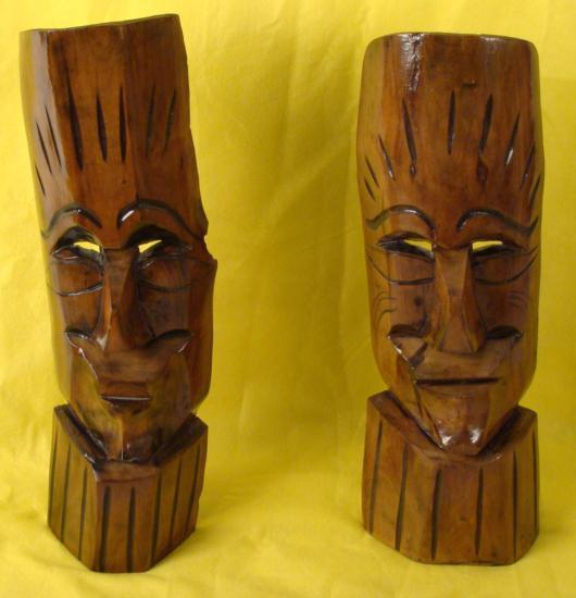 Pair Tiki Figures 2 Statues Tropical Island Wall Decor