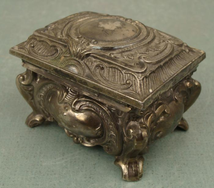 Art Nouveau Vintage Small Metal Jewelry Box M Marked