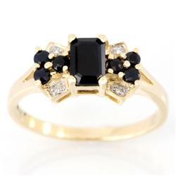 1.02Ct Natural Black Sapphire & Diamond 9K Gold Ring (JEW-9055X)