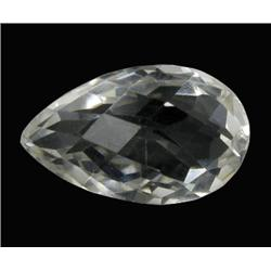 27.37ct Ultimate Flawless Quartz Crystal Gem Pear Checker Cut (GEM-21614)