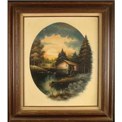 Nathan Original Oil Painting Old Mill Country Art