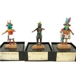 3 Miniature Hopi Kachina Dolls - Lawrence Namoke