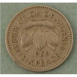 1959 Nigeria Six Pence Coin