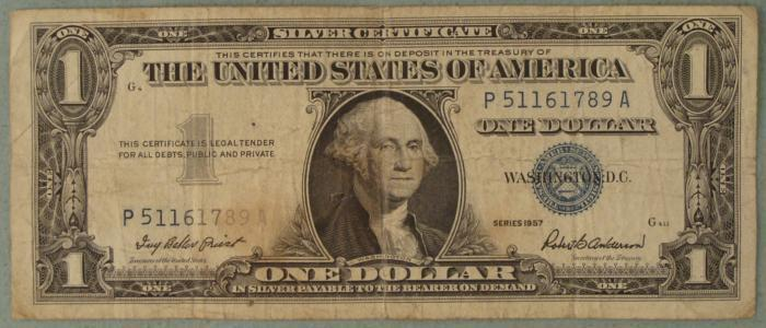 1957 $1 One Dollar U.S. Silver Certificate Note Bill