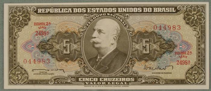 Image 1 Brazil 5 Cruzeiros Paper Money South American Bill Cu