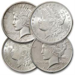 First and Last Morgan and Peace Silver Dollars (4)