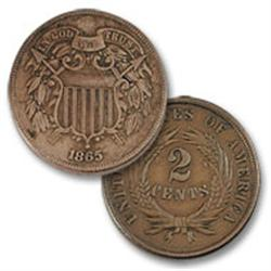 1865-P Two Cent Piece VF - KEY-