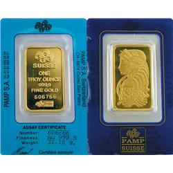 1 oz. Pamp or Credit Suisse Ingot on Card