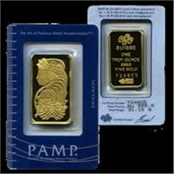 PAMP/Credit Suisse 1 ounce Gold Bar 999.9 with As