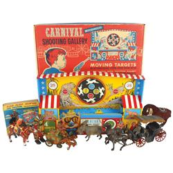Toys, Carnival Shooting Gallery, cast metal horse-drawn carriage, Davy Crockett stagecoach, windup B