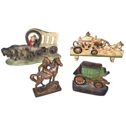 Western metalware items (4), Charles Hestor bronze-type Indian on horse, cast iron carriage electric