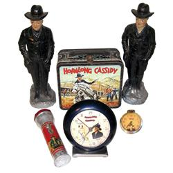 """Hopalong Cassidy items (6), 2 chalkware figures, 13.5""""H, flashlight by Topper Toys, US Time alarm cl"""