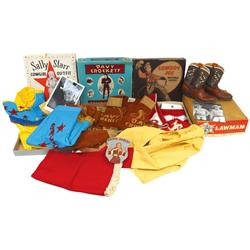 Children's Western clothes & boots, Sally Starr 2-pc cowgirl outfit by Pla-master in orig box w/auto