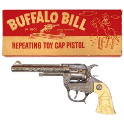 Toy cap guns in boxes (2), J.& E. Stevens Co. Buffalo Bill repeating toy cap pistol, NOS in orig box