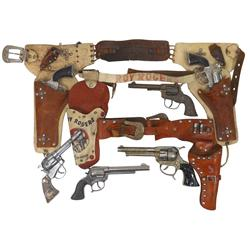 Roy Rogers cap guns & holsters (9 pcs), RR leather double holster w/2 Hubley Coyote guns (missing 1