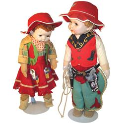 """Cowboy & cowgirl dolls w/orig outfits & accessories, made in USA, c.1950's, 25"""" & 27""""H, both in Good"""